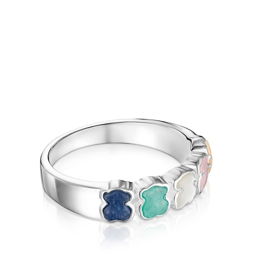 Mini Color Ring in Silver with Gemstones