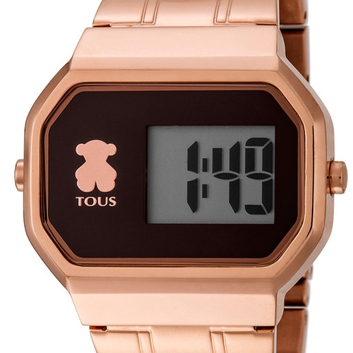 Reloj D-Bear Digital de acero IP rosado