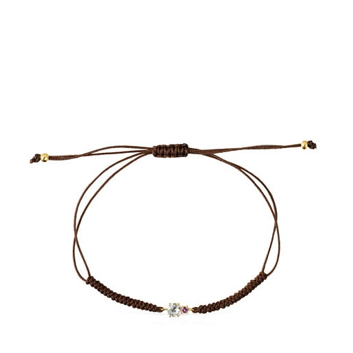 Mini Ivette Bracelet in Gold with Prasiolite, Amethyst and Brown Cord