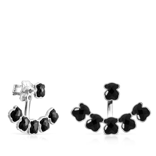 Short Mini Onix Earrings in Silver with six Onyx bears