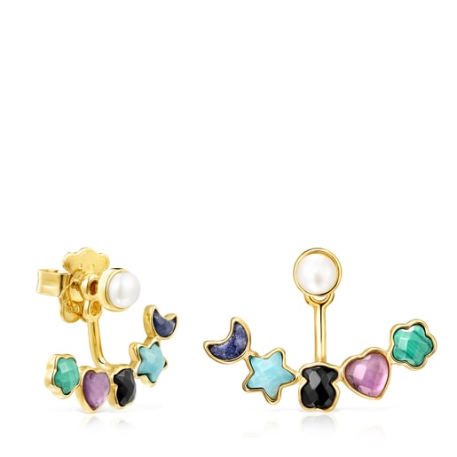 Short Glory Earrings in Silver Vermeil with Gemstones