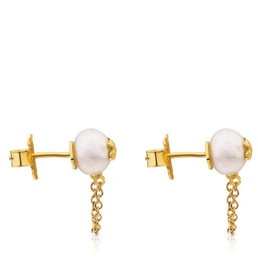 Gold Icon Pearl Earrings with Pearl and Diamond