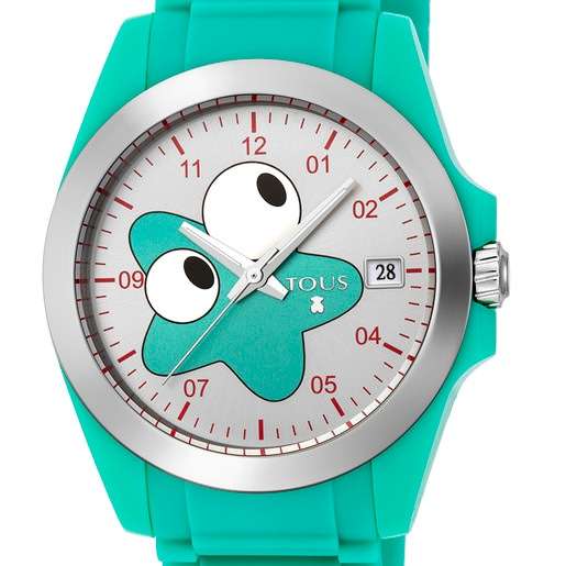 Steel Drive New Fun Watch with blue Silicone strap