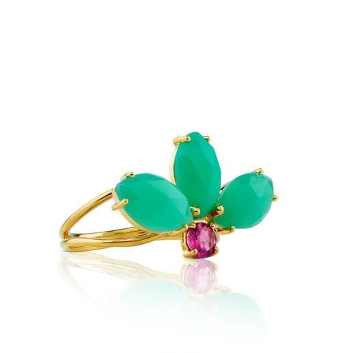 Gold Beach Ring with Chrysoprase