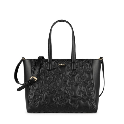 Black colored Kaos Capitone Tote bag