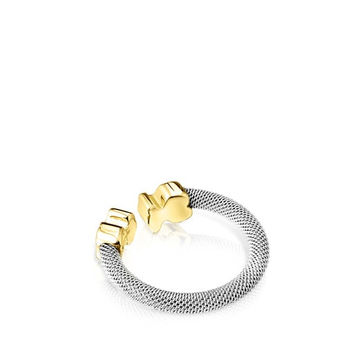 Steel and Gold Mesh Ring