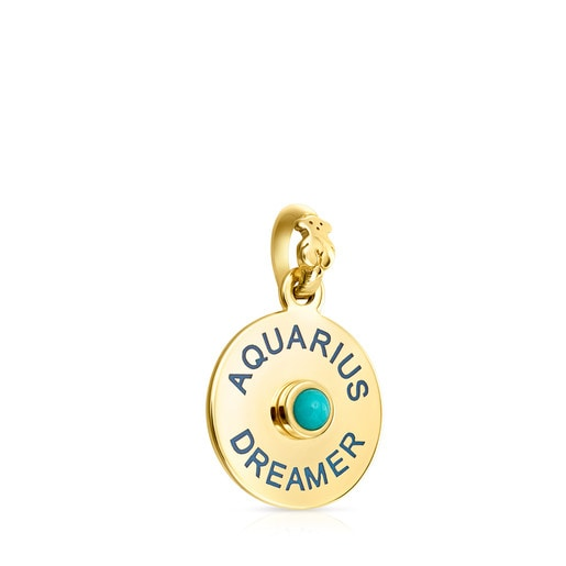 Vermeil Silver TOUS Horoscopes Aquarius Pendant with Turquoise