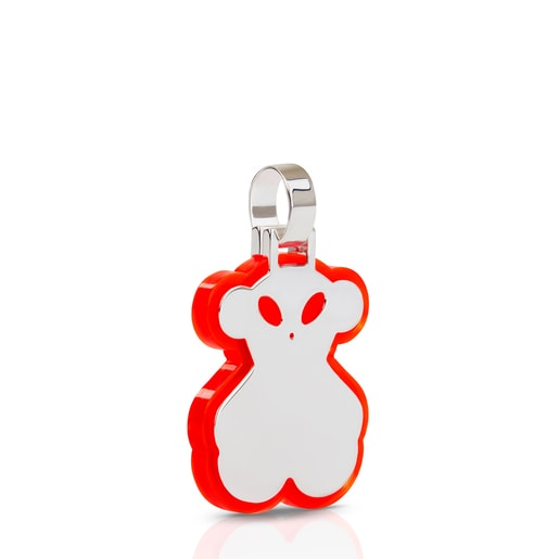 Large neon red Silver Halloween Pendant