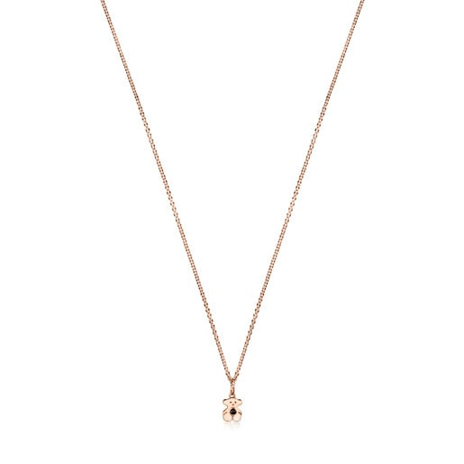 Rose Silver Vermeil Real Sisy Necklace with Onyx