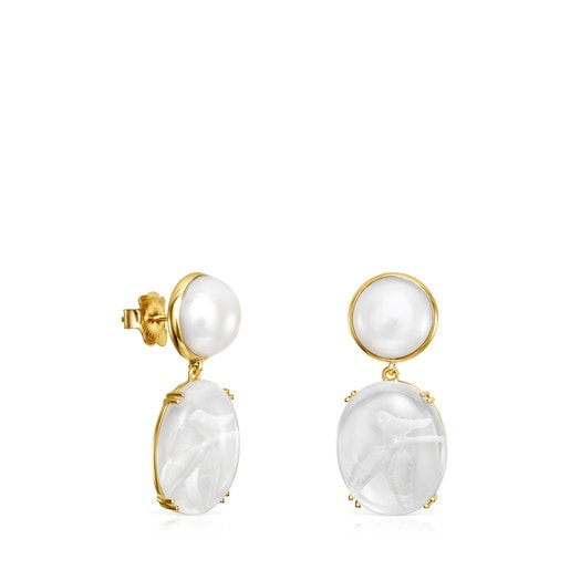 Short Vita earrings in Gold with Pearl and Rose Quartz