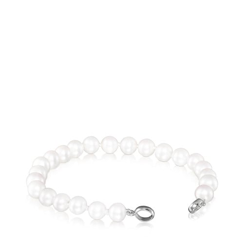 Silver Hold Bracelet with Pearls