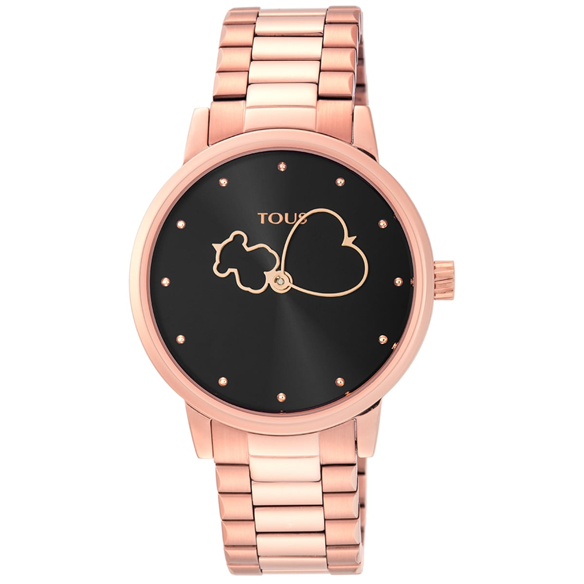 Reloj Bear Time de acero IP rosado