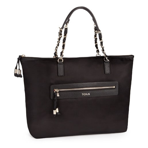 Black colored Canvas Brunock Chain Tote bag