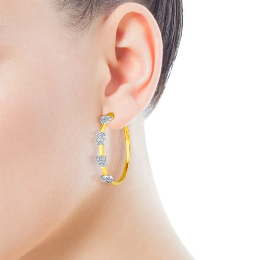 Gold TOUS Puppies Earrings with Diamond