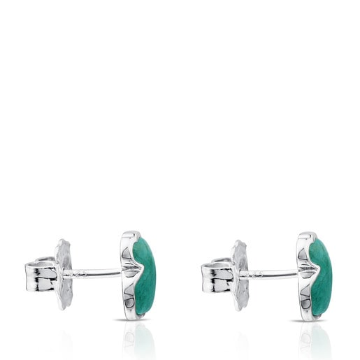 Aretes New Color de Plata con Amazonita