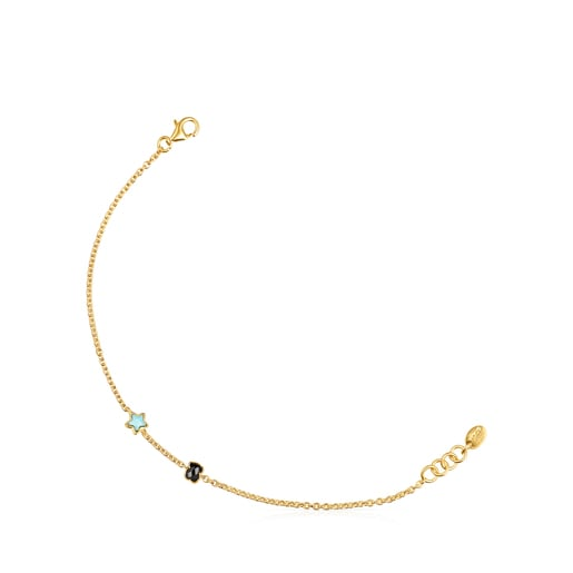 Glory Bracelet in Silver Vermeil with Onyx and Turquoise