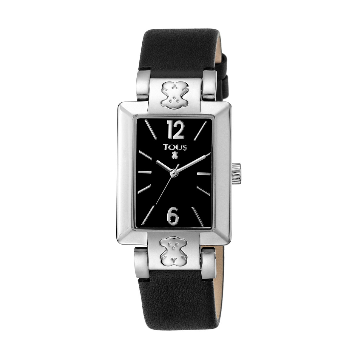 Steel Plate SQ Watch with black Leather strap