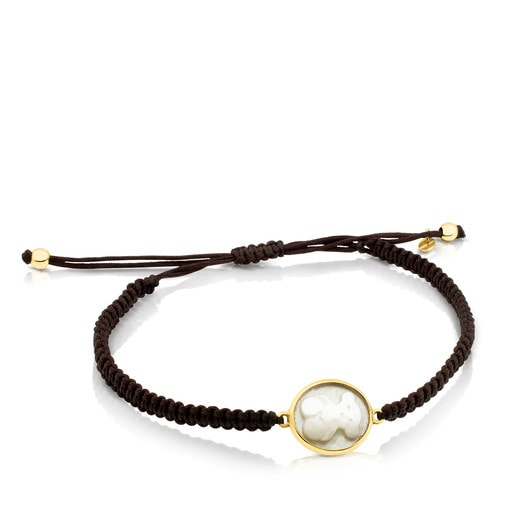 Gold and Cord with Mother-of-Pearl Camee Bracelet
