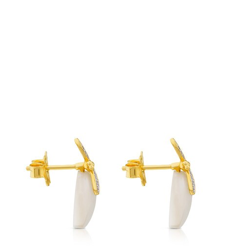 TOUS Bera Earrings in yellow and white Gold with Mother-of-pearl and Diamonds.