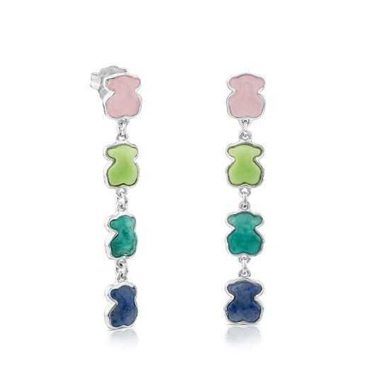 Pendientes New Color de Plata con Gemas