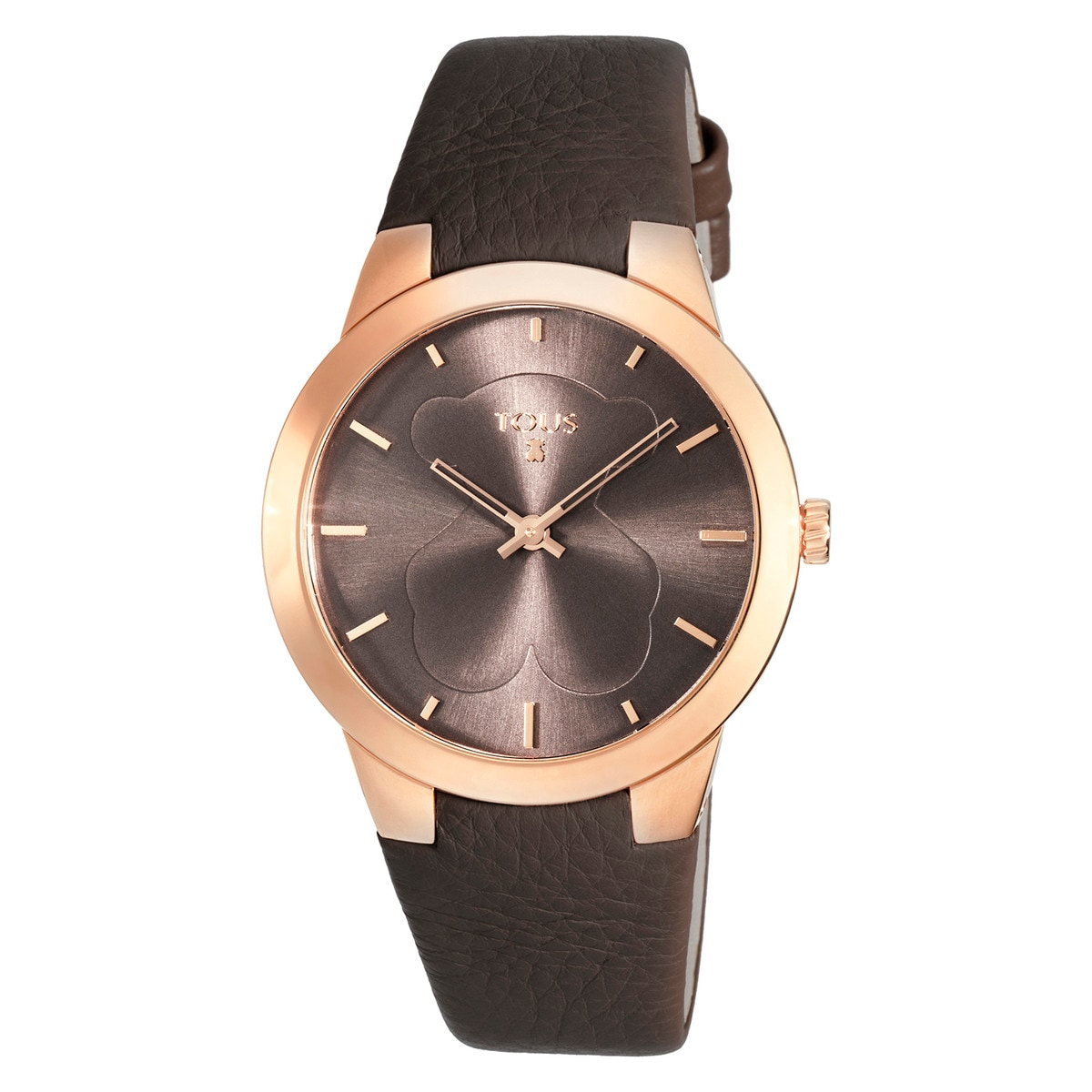 Pink IP Steel B-Face Watch with brown Leather strap