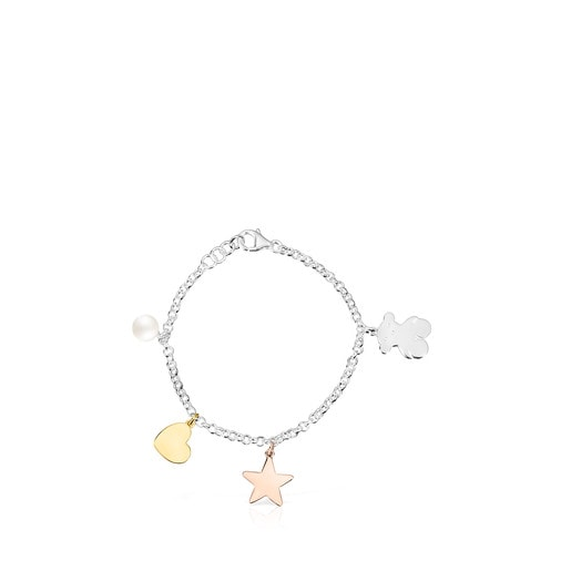 Silver Sweet Dolls Bracelet with Silver Vermeil, Rose Silver Vermeil and Pearl