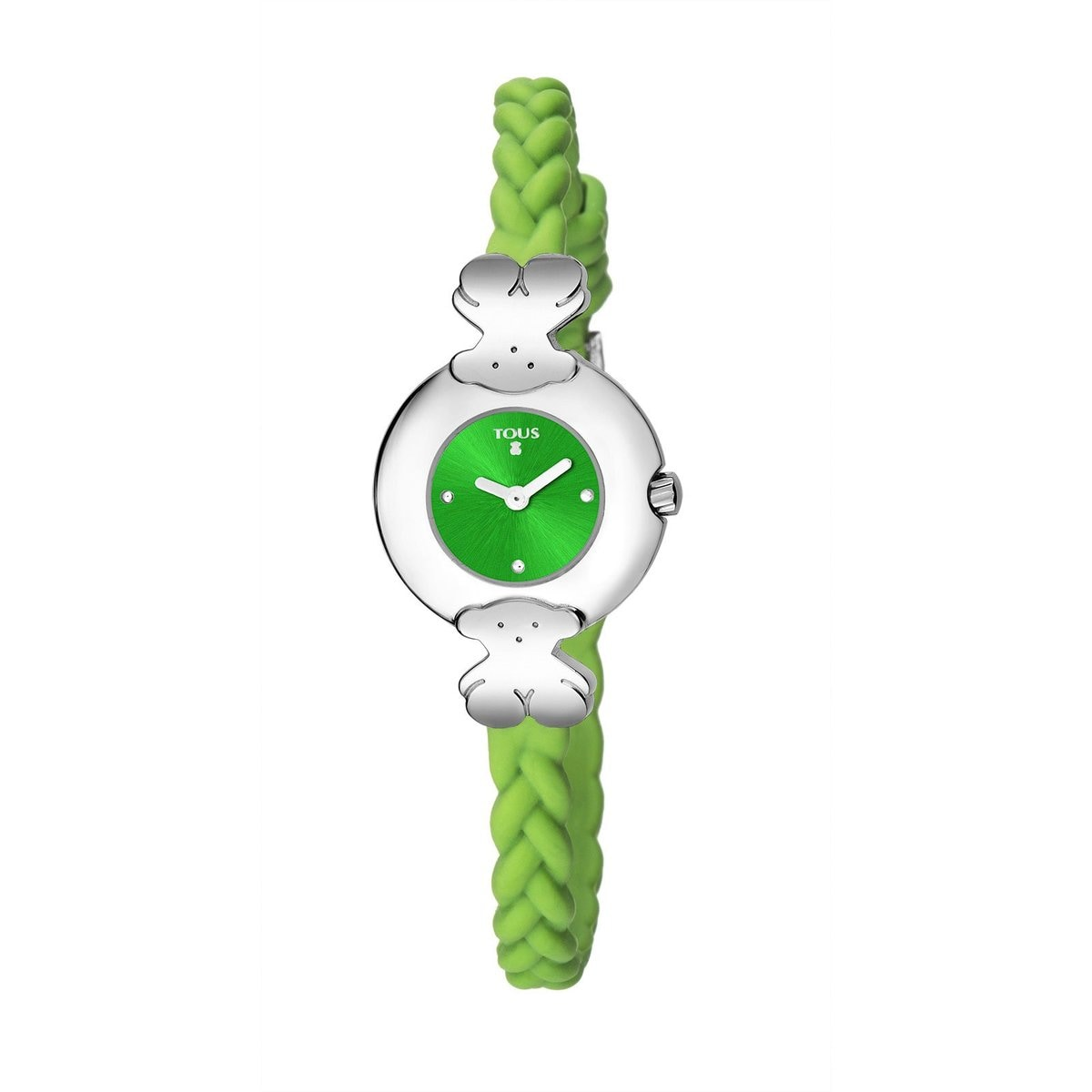 Steel Très Chic Watch with green Silicone strap