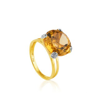 Gold Color Kings Ring with Citrine and Diamonds