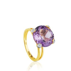 Gold Color Kings Ring with Diamonds and Amethyst