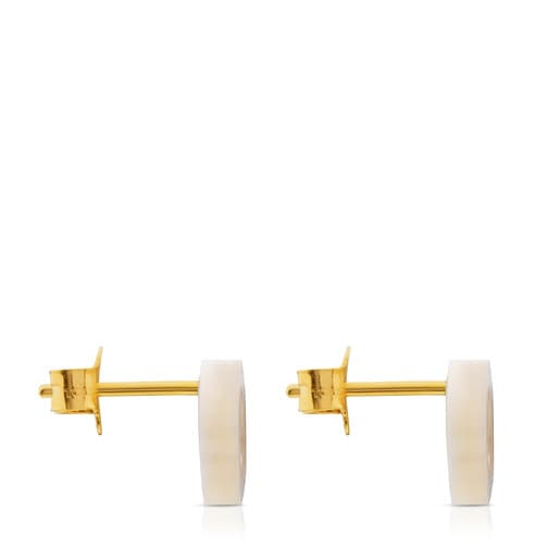 Gold Göz Earrings with Mother of Pearl
