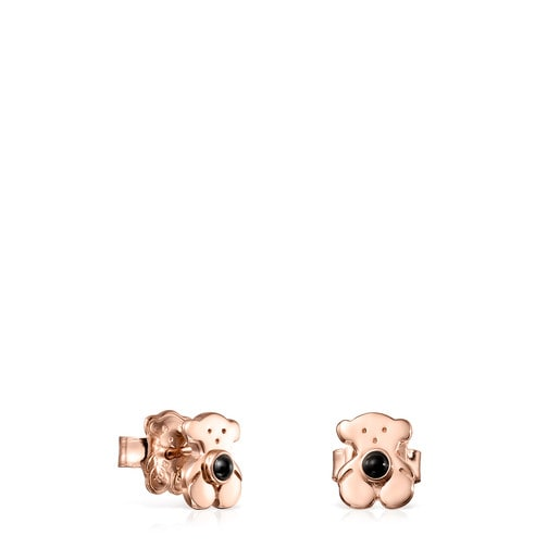 Rose Silver Vermeil Real Sisy Earrings with Onyx