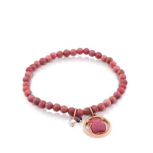 Rose Vermeil Silver Camille Bracelet with Rhodonite, Iolite and Pearl