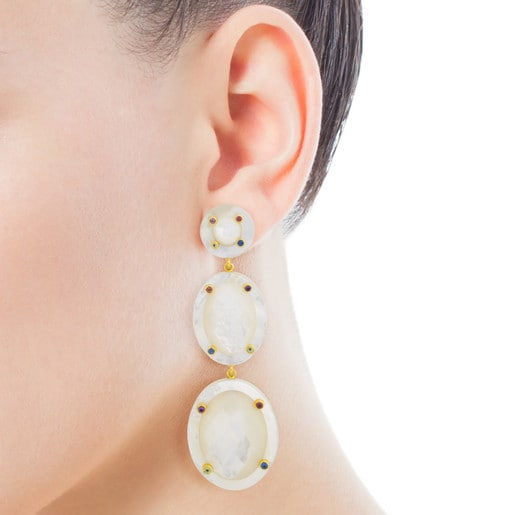 Ciel Earrings in Gold with Gems and Mother-of-Pearl