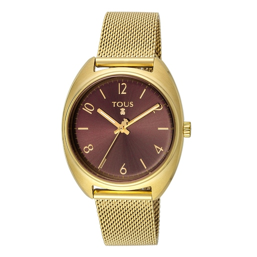 Gold IP Steel Retro Watch