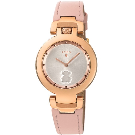 Rose IP Steel Crown Watch with nude Leather strap
