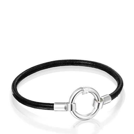 Hold Bracelet in Silver and black Leather