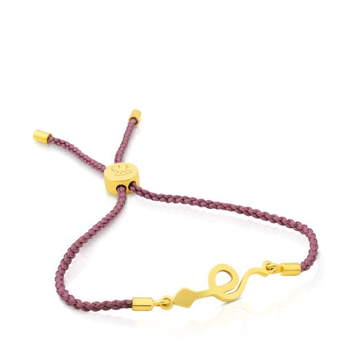 Vermeil Silver Idol Strength Bracelet with rose Cord