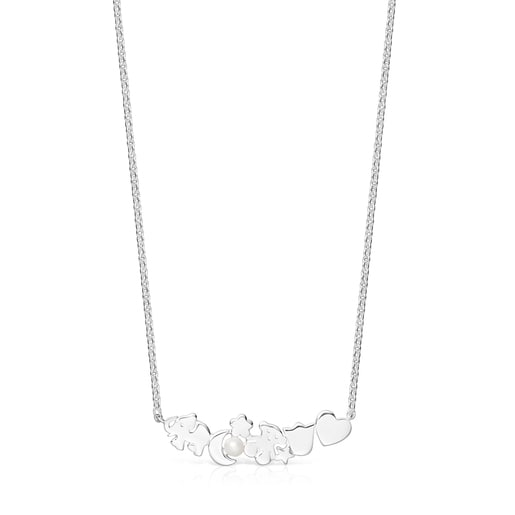 Nocturne necklace with Silver motifs with Pearl
