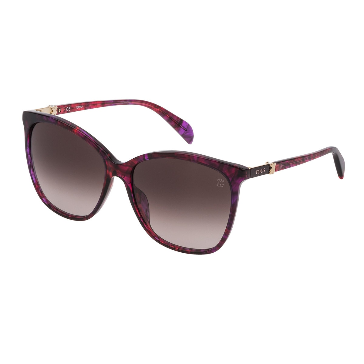 Burgundy Acetate Classic Gold Bear Sunglasses