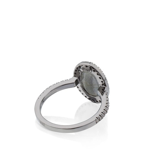 Silver Dinah Ring with Diamond and Labradorite