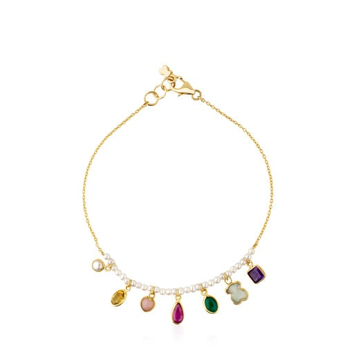 Gold Gem Power Bracelet with Pearls and Gemstones