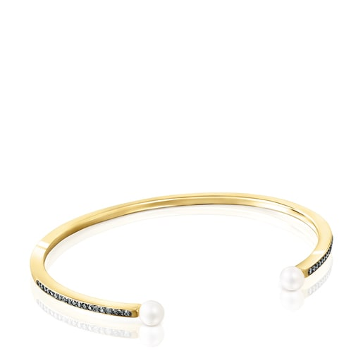 Nocturne Bracelet in Silver Vermeil with Diamonds and Pearls