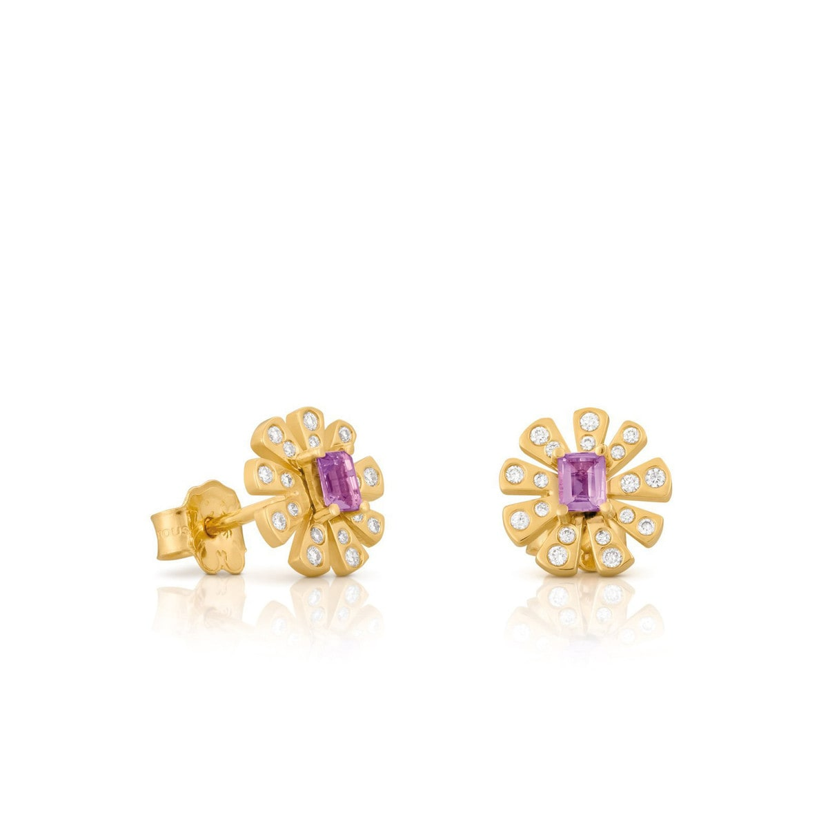 Gold Noa Earrings with Diamond and Amethyst