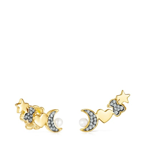Nocturne Earrings in Silver Vermeil with Diamonds and Pearl