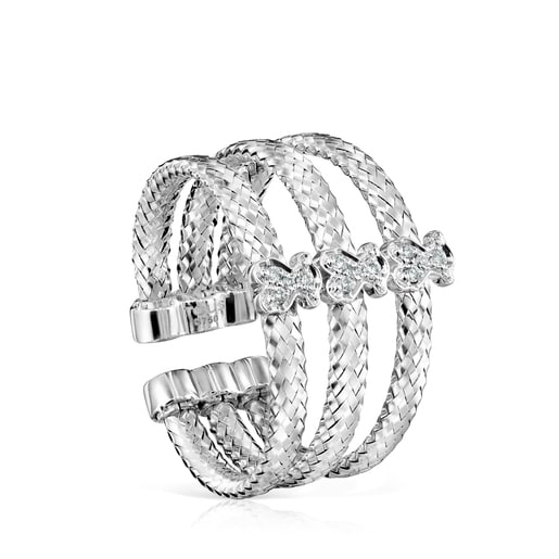 Light triple Ring in White Gold with Diamonds
