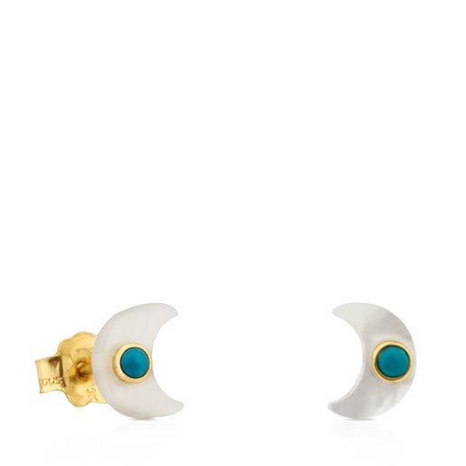 Gold Super Power Earrings with Mother-of-pearl and Turquoise
