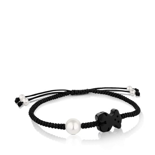 Onyx and pearl Tibet Bracelet with Bear motif
