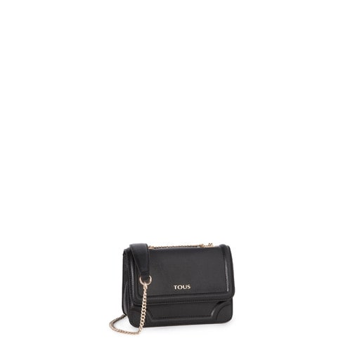 Small black colored Leather Obraian Crossbody bag