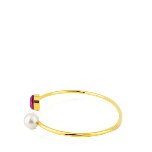 Vermeil Silver Bright Bracelet with Pearl, Ruby and Mother of Pearl