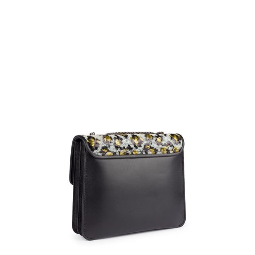 Small black  leather Liz Wild Sequins crossbody bag